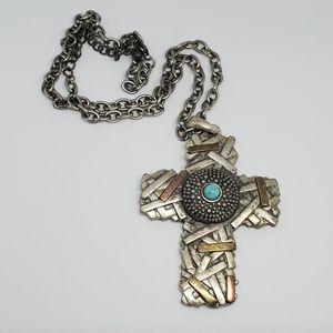 Pewter Southwestern Brutalist Cross Necklace